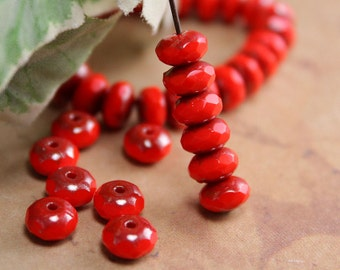 Red Czech Glass Beads Rondell Opaque Luster Picasso Donut 6x4mm (25)