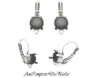 Boucles d'oreilles dormeuses, à sertir, 1 anneau, argent antique 20 mm, 1 paire