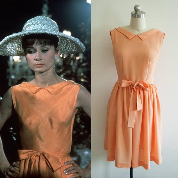 Audrey Hepburn Kleid / 60er Jahre / Orange Kleid / 1960 /
