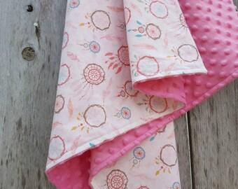 Baby girl blanket-dream catcher baby blanket-pink dimple dot minky-shower gift-cotton girl blanket-dream catcher nursery-pink dream catcher
