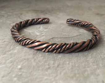 Rustic copper cuff, twisted wire, squared copper bracelet