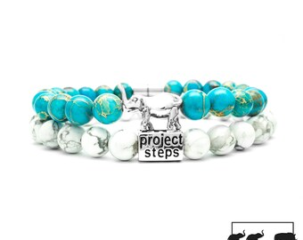 Project-Steps Jewell bracelet Silver Rhino Turquoise paired with Original White Howlite gemstones for Men and Women | Support wildlife!