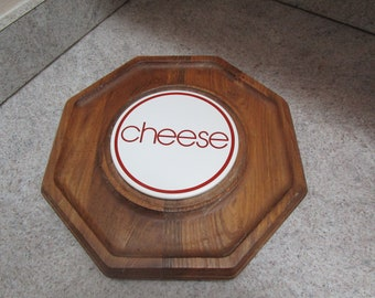 Vintage Cheese Serving Tray / Cheese Board / Octagon Shaped Tray