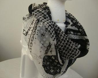 Woman's Black & White Geometric Chiffon Infinity Scarf
