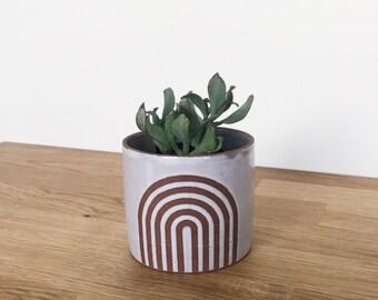 Wheel thrown ceramic planter with arch design, succulent planter