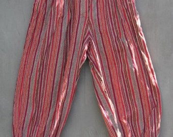 vintage amazing striped indian cotton woven gypsy harem balloon pants xs small