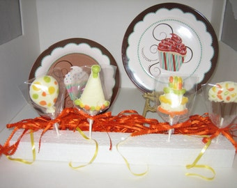Birthday Chocolate Lollypops Made In White Chocolate Hand Painted With Color Accents