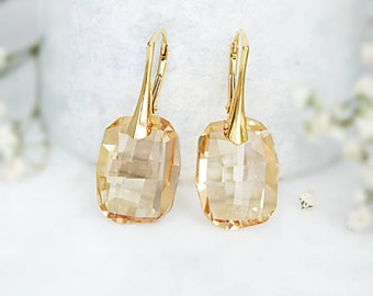 Rose gold earrings, Swarovski earrings, Bridesmaid earrings, Champagne earrings, Swarovski crystal earrings, Bridesmaid gift Sterling Silver