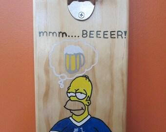 MMMMMM.....BEEER!  Homer Simpson Wooden Bottle opener with magnetic cap catcher bottle cap catching opener