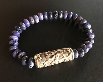 Purple Crazy Lace Agate and Artisan Nepal Sterling Silver Beaded Bracelet