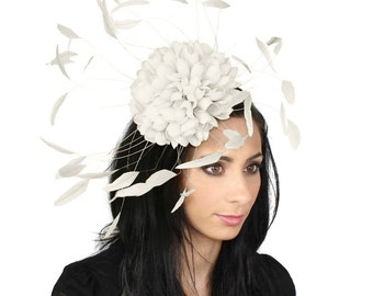 Margeaux White Fascinator Hat for Weddings, Races, and Special Events With Headband