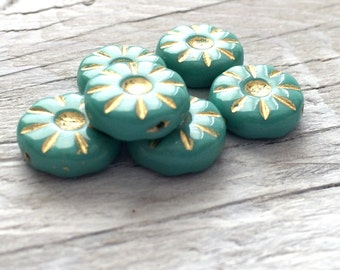 Czech Glass Flower Beads - Coin Beads Turquoise pack of 6