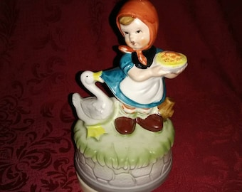 Vintage dutch girl music box. Made in Japan. Music play good. Ceramic