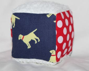 Small Navy Blue Golden Retrievers and Dots Fabric Block Rattle