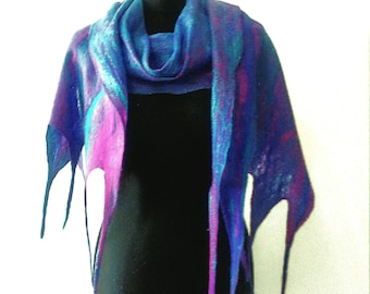 Purple felt scarf, blue felt scarf, luxurious felt scarf, wool felt scarf, genuine wool scarf, genuine felt scarf, purple scarf, felt gift