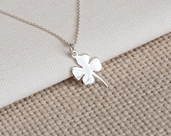 Four Leaf Clover Necklace, Sterling Silver Necklace, Sterling Silver Clover Necklace, Shamrock Necklace, Good Luck Necklace, Christmas Gift
