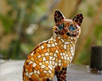 Cat, Little Cat, Gata, Gato, Mosaic Style, Mosaic Cat, Cat Figurine, Miniature, Sculpture, Cat Lover Gift, Kitty, Handmade , Handpainted
