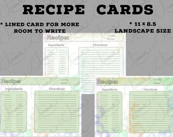 Recipe Digital Inserts | Printable 11 x 8.5 Landscape size | GoodNotes