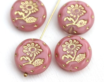 18mm Pink Flower beads, Golden Inlays, Czech glass Round tablet floral ornament beads, mixed color - 2pc - 1921