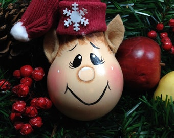 Hand Painted Light Bulb/Christmas Elf Ornament /Christmas Oranment Handmade / Hand Painted Elf Ornament