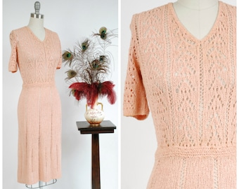 Vintage 1940s Sweater Dress - Wonderful Pink Rayon Crocheted Dress with Lace Like Bodice and Short Sleeves