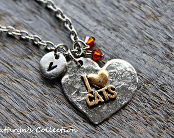 Cat Necklace, Cat Jewelry, I love cats Necklace, Cat Lover, Cat gift, Feline Jewelry