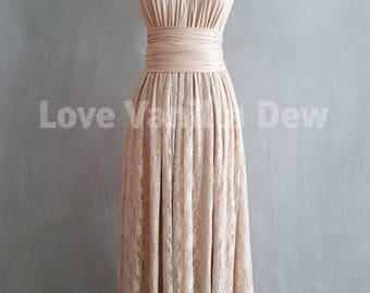 Bridesmaid Dress Infinity Dresses Champagne Lace Floor Length Maxi Wrap Convertible Dress Wedding Dress