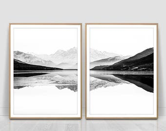 Mountain above the lake,Black and white,Minimalist Art, Mountain Print, Modern Art Print, Nature,reflection in the water, Mountain Range