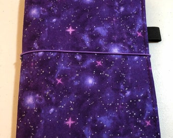 MINI HAPPY PLANNER Sized Book Cover ~ Purple Galaxy Fabric Planner Cover