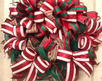 Traditional Christmas Wreath, Front Door Wreath, Wreath for Christmas, Best Door Wreath, Holiday Wreath, Xmas Decor, Custom Wreath