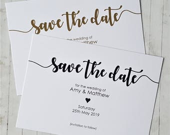 10 Personalised Save the Date Cards with Envelopes - Ivory Cream or White Card - Any Colour Print