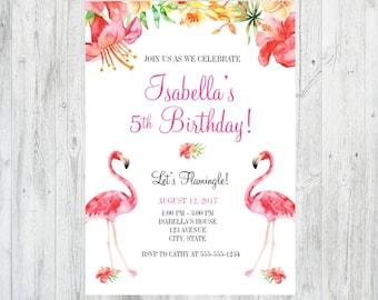 Flamingo Birthday Invitation, Flamingo Birthday Party, Flamingo Party, Flamingo Party Decor, Tropical Birthday Invitation, Tropical Party