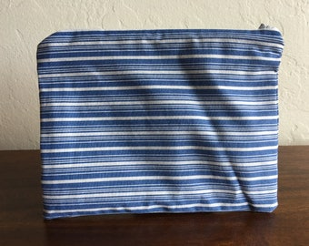 Handmade Light Blue & White Striped Zipper Pouch