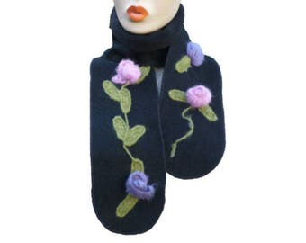 Black boiled and fleece wool scarf in pink and purple knit fabric, women's scarf, fashion accessories, women's gift idea