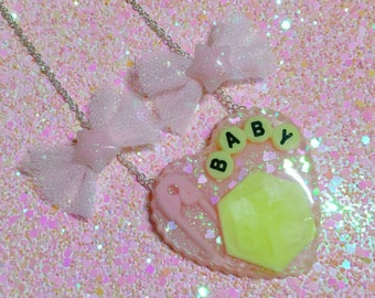 Pink Bows - Sweet Fairy Kei Necklace