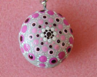 Key chain Mandalastein dot painting heart love Pendant