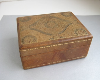 antique vintage leather Jewelry casket box gold painted