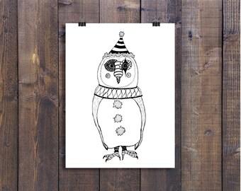 Owl Art, Owl Illustration, Animal Art, Black and White Art, Pen and Ink Art, Nursery Art, Clown Art, Circus Art, Owl Drawing, Bird Art, Ink