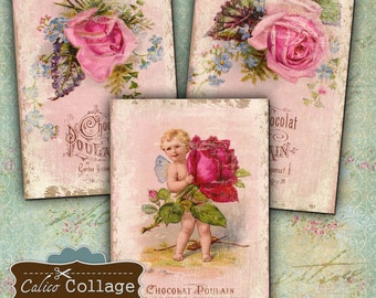 Chocolat Poulain Printable Digital Collage Sheet Gift Tags, Greeting Cards, Paper goods, Jewelry Holders, Scrapbook Victorian Roses