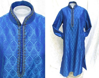 Brocade Tunic Dress From India with Beaded Neckline - Ladies Size 18 - Iridescent Blue Silk