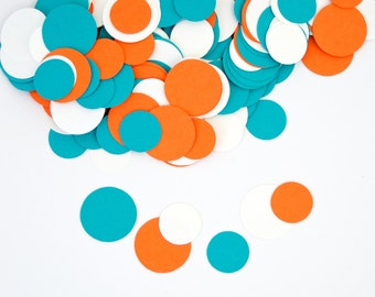 Party Decoration - Turquoise and Orange Circle Confetti -  Modern Party Decoration