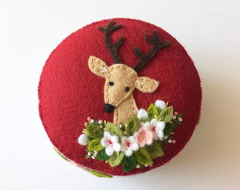 Christmas deer pincushion in cranberry and silver grey with hand embroidery