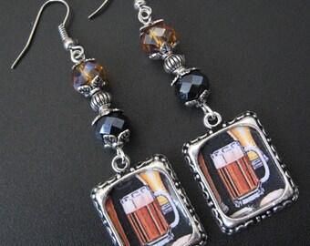 Beer Earrings, Beer Jewelry, Oktoberfest, Octoberfest, Alcohol Jewelry