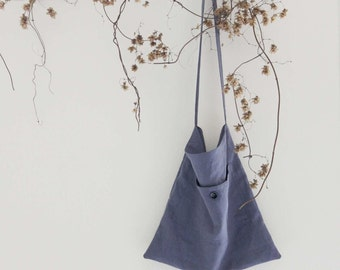 Cross body linen tote, Linen shopping bag, Messenger bag, Market tote