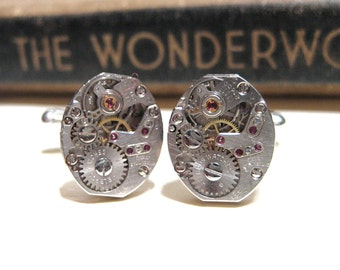 Steampunk Vintage BULOVA Watch Movement Cuff Links - 17 Jewel Ruby - Cufflinks - Oval - Barrel - PREMIUM - Soldered
