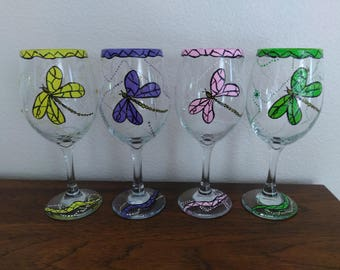 Bling Dragonfly Wine Glass Set of 4