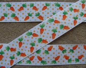 """3 yards Carrot ribbon Easter Ribbon Carrot Printed Ribbon 1"""" ribbon 3 yards Hair bow ribbon dots ribbon"""