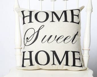 """Pillow, """"Home Sweet Home"""". 18x18 pillow cover. Decorative throw pillow."""
