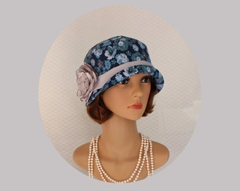 Navy and grey Great Gatsby party cloche hat with floral print, high tea hat, summer cloche hat, Downton Abbey hat, navy blue hat, 1920s hat