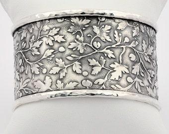 Silver cuff bracelet, Floral silver bracelets, Wide Silver Cuff, Wide Silver Bangle, Leaf motif silver Cuff, Botanical wide cuff